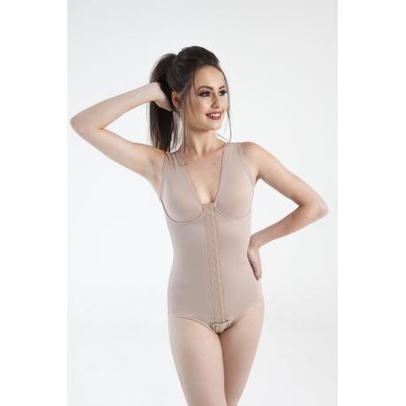 Modelador sem pernas, alças largas, busto pré-moldado com recorte e colchetes frontais